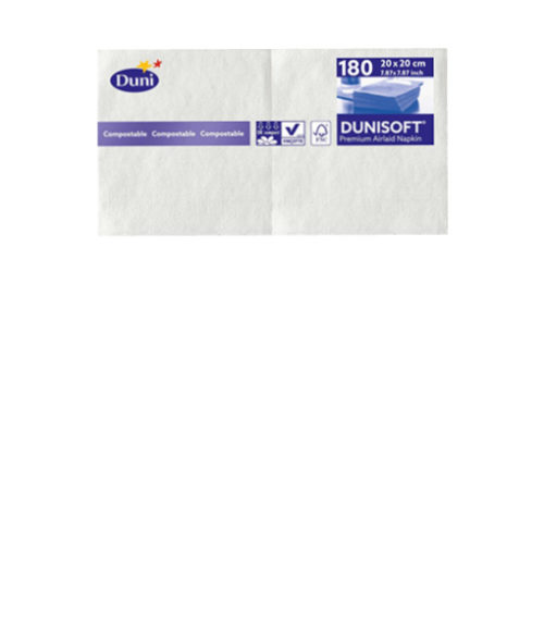 Image Duni White Paper Cocktail Napkins - Pack of 180